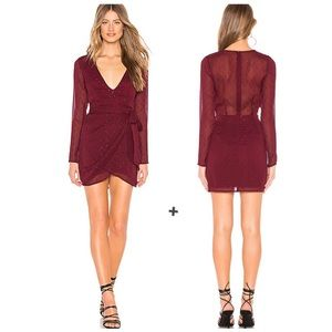 Superdown Maya Wrap Burgundy Metallic Mini Dress